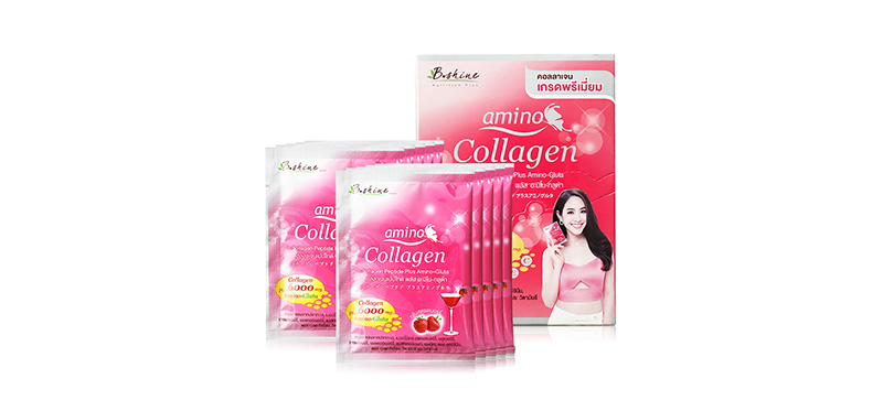 B.shine Collagen Peptide 6000mg Plua Amino-Gluta Strawberry (10g x 10 Sachets)