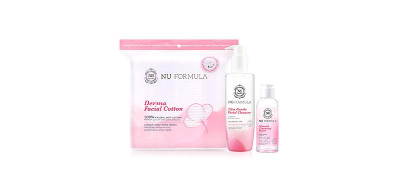 Nu Formula Set 3 Items Ultra Gentle Facial Cleanser 220ml + Cleansing Water For Sensitive Skin 100ml + Facial Cotton 200pcs