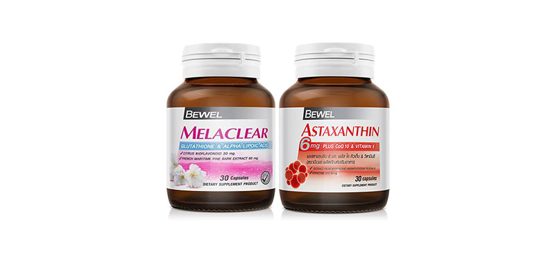 Bewel Set 2 Items Astaxanthin 6mg Plus Co-Q10 and Vitamin-E & Melaclear Glutathione & Alpha Lipoic Acid ( สินค้าหมดอายุ : 2021.05 )
