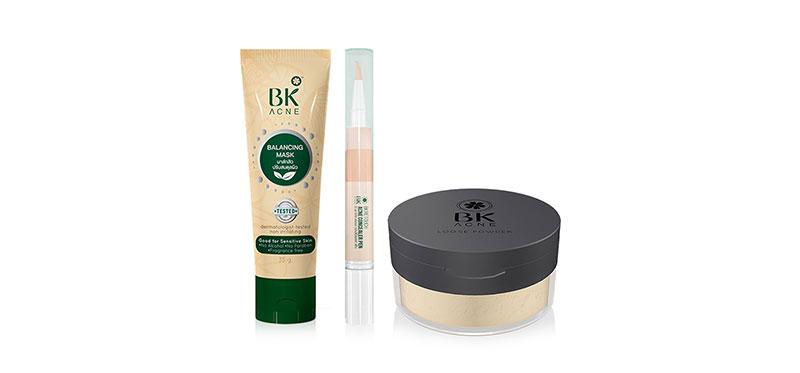 BK Set 3 Items Mask Acne Tea Tree Oil + Acne Concealer Pen #02 + Acne Loose Powder บอกลาสิว และความมันด้วยเซตผลิตภัณฑ์ดูแลปัญหาผิวเป็นสิว จากบีเค ช่วยปกปิด อำพรางจุดบกพร่องให้ผิวแลดูกระจ่างใส