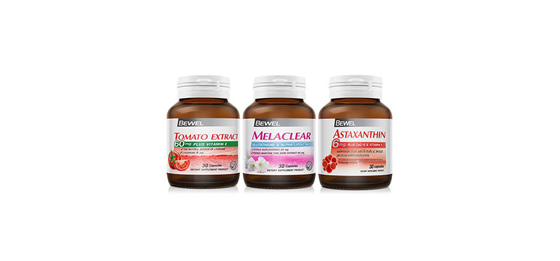 Bewel Set 3 Items Tomato Extract 60mg Plus Vitamin E & Melaclear Glutathione & Astaxanthin 6mg Plus Co-Q10 and Vitamin-E