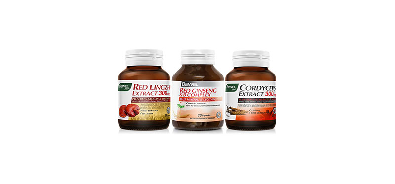 Bewel Set 3 Items Cordyceps Extract 300mg & Red Ginseng & B-Complex & Red Lingzhi Extract 300mg