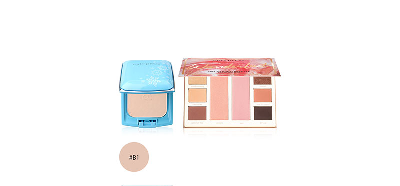 Cute Press Set 2 Items Evory Snow Whitening & Oil Control Foundation Powder #B1 + Wanderlust Day to Night Palette