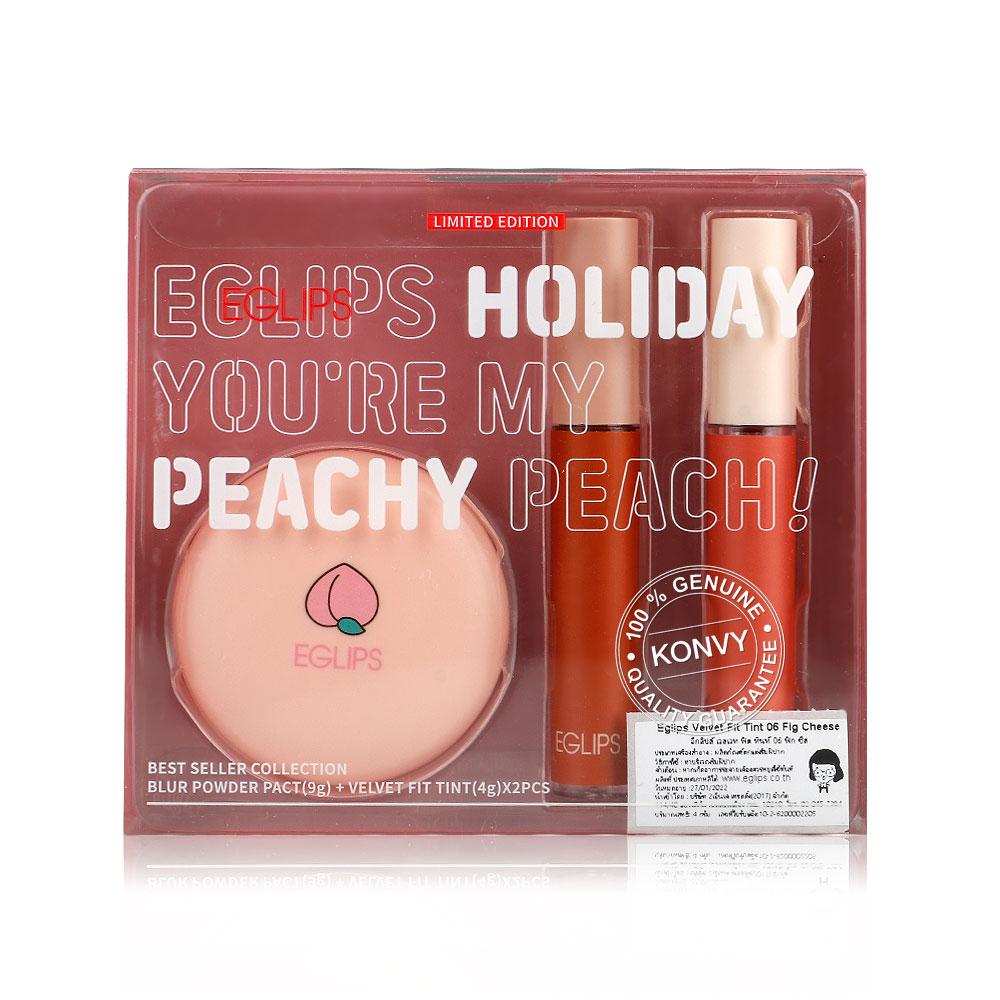 Eglips Holiday Kit Your're My Peachy Peach! (Blur Powder Pack #25 + Velvet Fit Tint #03 Vintage Orange + #06 Fig Cheese) ( สินค้าหมดอายุ : 2021.10 )