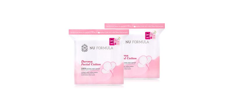 แพ็คคู่ Nu Formula Derma Facial Cotton (200pcs x 2)