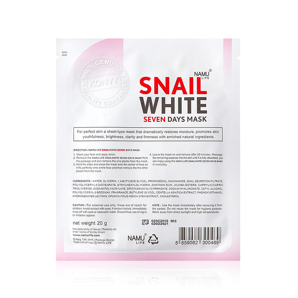 Namu Life Snailwhite Seven Days Mask Sheet 20ml
