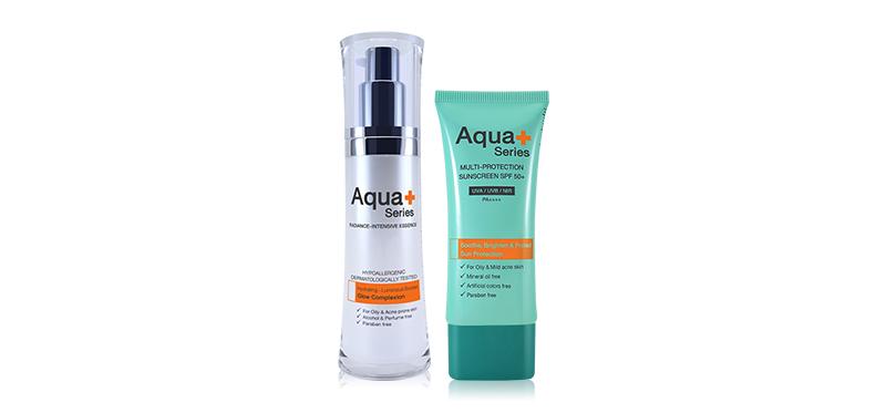 Aqua+ Series Set 2 Items Radiance-Intensive Essence 30ml + Multi-Protection Sunscreen SPF50/PA+++ 50ml