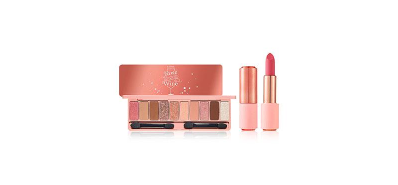 Etude House Set 2 Items Play Color Eyes #Rose Wine + Rose Better Lips-Talk Velvet 4.5g #PK014