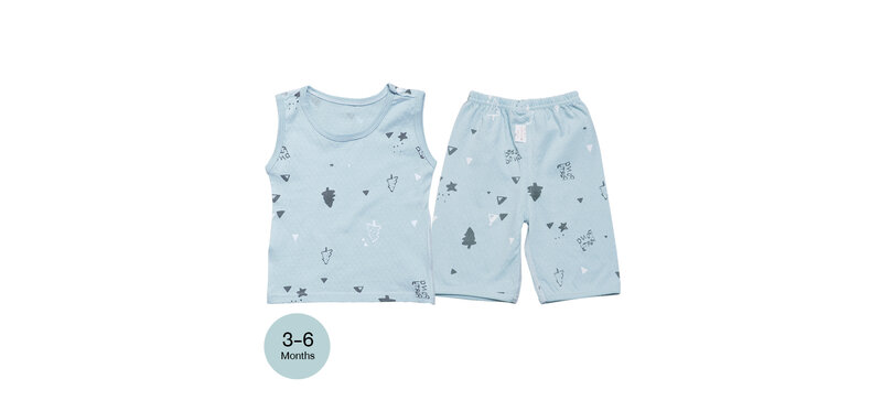 YUYING Baby Vest and Pants Set Pure Cotton 100% Cloth [3-6 Months] Forest #Blue #66 [1807T-2]
