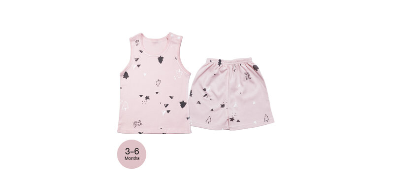 YUYING Baby Vest and Pants Set Pure Cotton 100% Cloth [3-6 Months] Forest #Pink #66 [1807T-2]