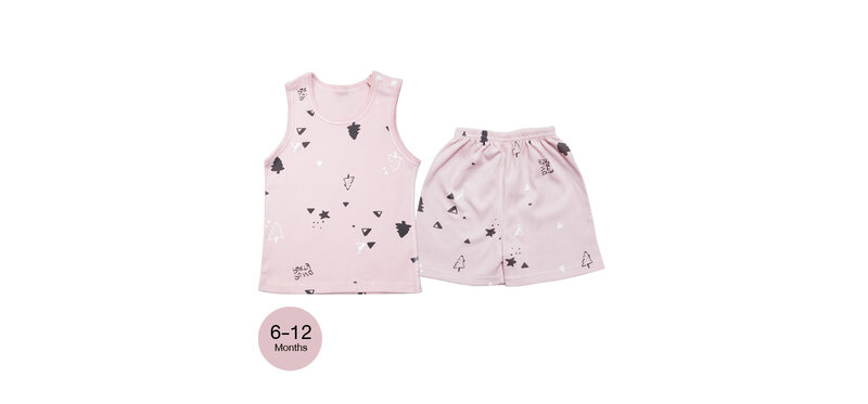 YUYING Baby Vest and Pants Set Pure Cotton 100% Cloth [6-12 Months] Forest #Pink #73 [1807T-2]