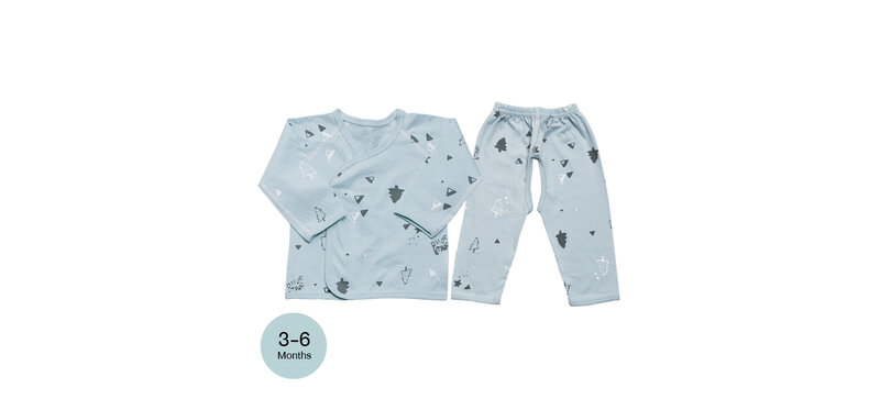 YUYING Baby Kimono Shirt and Pants Set Pure Cotton 100% Cloth [3-6 Months] Forest #Blue #66 [1807T-3]
