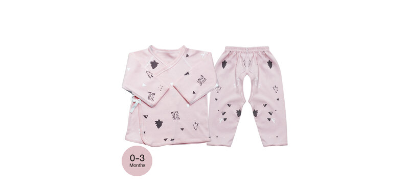 YUYING Baby Kimono Shirt and Pants Set Pure Cotton 100% Cloth for Newborn [0-3 Months] Forest #Pink #59 [1807T-3]