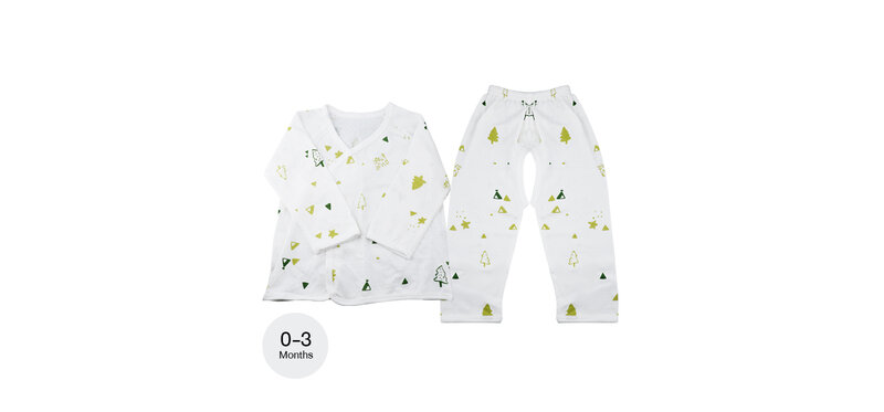 YUYING Baby Kimono Shirt and Pants Set Pure Cotton 100% Cloth for Newborn [0-3 Months] Forest #White #59 [1807T-3]