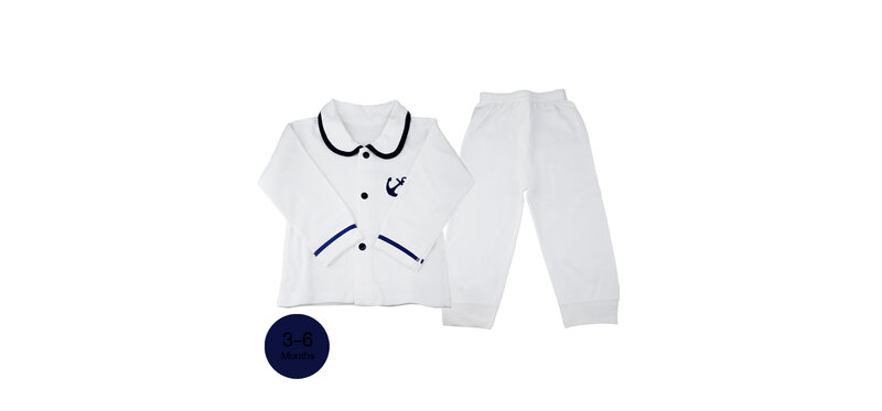 YUYING Baby Short Sleeve and Pants Set Pure Cotton 100% Cloth [3-6 Months] Navy #White #66 [2020A-4]