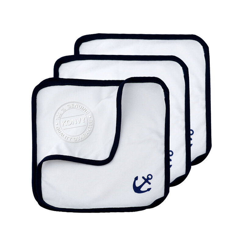 YUYING Baby Snap Bib & Drool Bib & Handkerchief Pure Cotton 100% Navy [7pcs] #White [2020A-8]