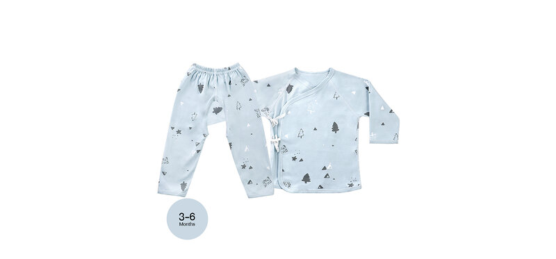 YUYING Baby Kimono Shirt and Pants Set Pure Cotton 100% Cloth [3-6 Months] Forest #Blue #66 [1807D-3]