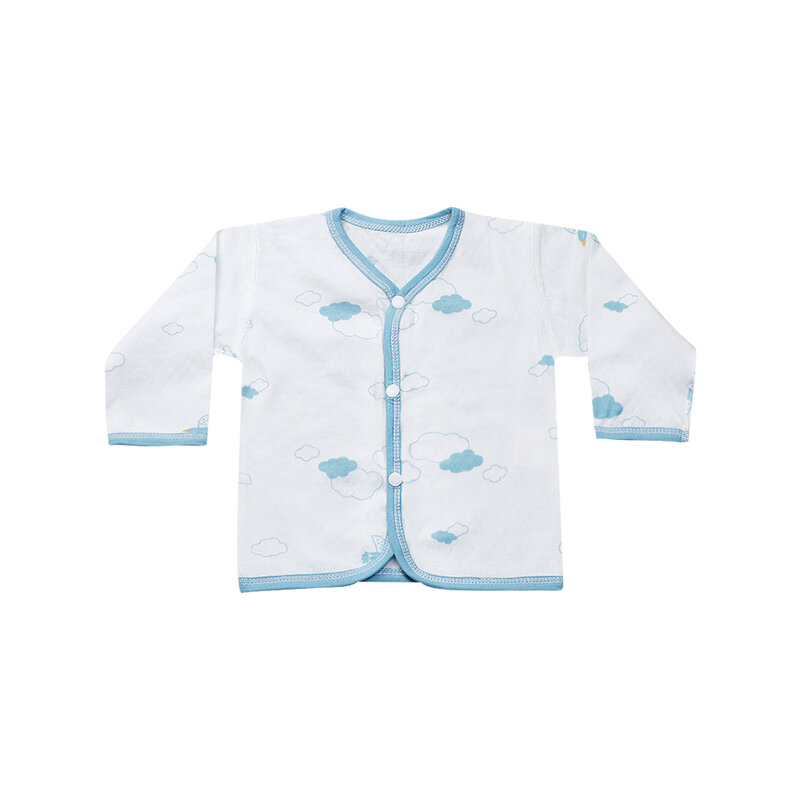 YUYING Baby Snap Shirt and Pants Set Pure Cotton 100% Cloth for Newborn [0-3 Months] Thin Cloud #Blue #59 [2088A-3]