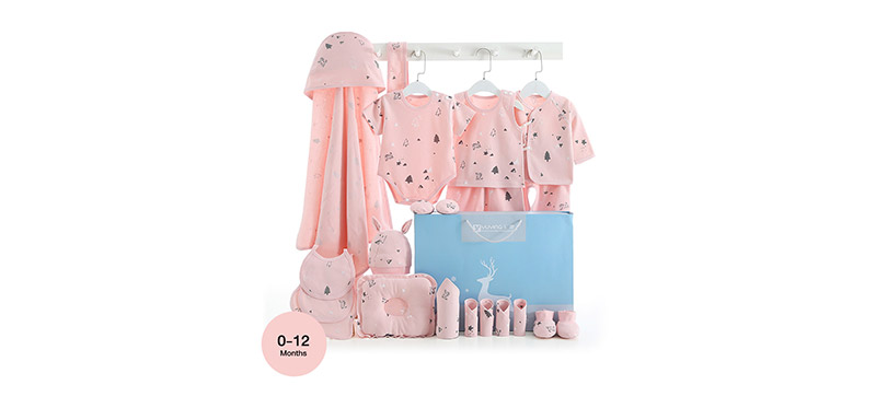 YUYING Premium Baby Gift Set Pure Cotton 100% Cloth Set Forest [21pcs] #Pink #Growth Type [0-12 Months] [1807D]