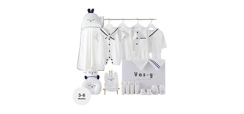YUYING Premium Baby Gift Set Pure Cotton 100% Cloth Set Navy [22pcs] #Blue #66 [3-6 Months] [1920E]