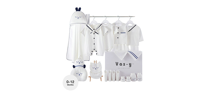 YUYING Premium Baby Gift Set Pure Cotton 100% Cloth Set Navy [22pcs] #Blue #Growth Type [0-12 Months] [1920E]