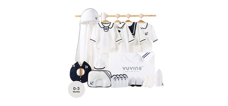 YUYING Premium Baby Gift Set Pure Cotton 100% Cloth Set Navy [21pcs] #White #59 [0-3 Months] [2020A]