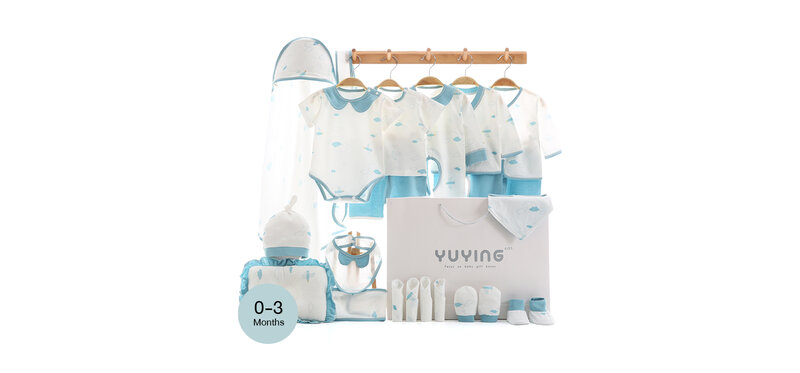 YUYING Premium Baby Gift Set Pure Cotton 100% Cloth Set Thin Cloud [24pcs] #Blue #59 [0-3 Months] [2088A]