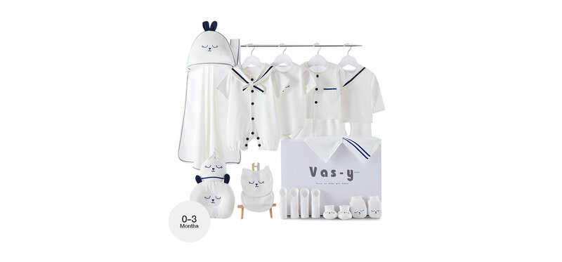 YUYING Premium Baby Gift Set Pure Cotton 100% Cloth Set Navy [22pcs] #Blue #59 [0-3 Months] [1920E]