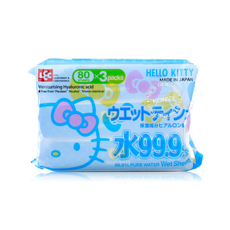 LEC Hello Kitty 99.9% Pure Water Wet Sheets [80 Sheets x 3pcs]