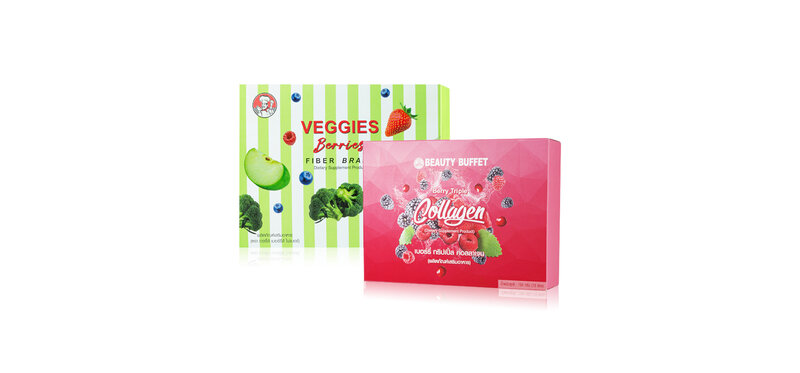 Beauty Buffet Set 2 Items Berry Triple Collagen [15g x 10 Sachets] + Veggies Berries Fiber Brand [25g x 10 Sachets]