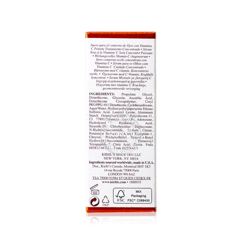 Kiehl's Powerful Strength Line-Reducing & Dark Circle-Diminishing Vitamin C Eye Serum 15ml