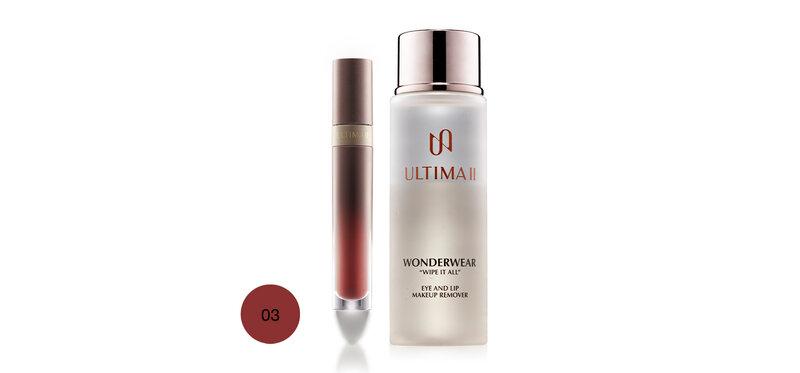 ULTIMA II Set 2 Items Lip & Cheek 4.8g #03 Power Up Chic + Makeup Remover 55ml