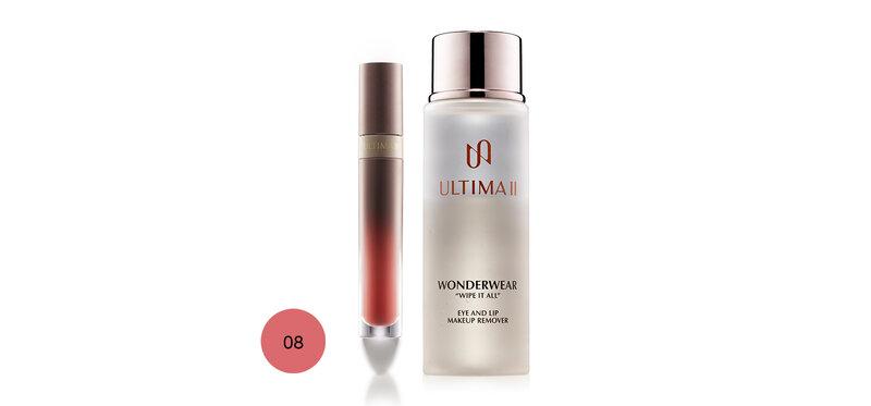 ULTIMA II Set 2 Items Lip & Cheek 4.8g #08 Divine Feminine + Makeup Remover 55ml