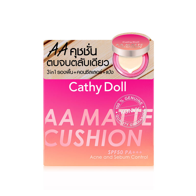 Cathy Doll AA Matte Cushion SPF50/PA+++ Acne and Sebum Control 10g #01 Light Beige